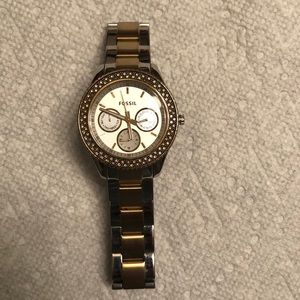 Used Fossil watch gold and silver chain